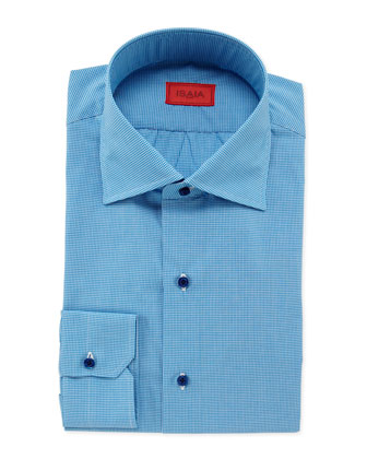 Micro-Gingham Dress Shirt, Aqua