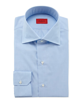 End-on-End Woven Dress Shirt, Light Blue