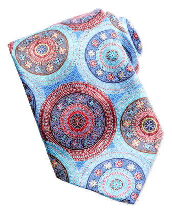 Quindici Large-Circle Silk Tie, Light Blue