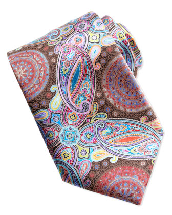 Venticinque Circle Paisley Tie, Brown