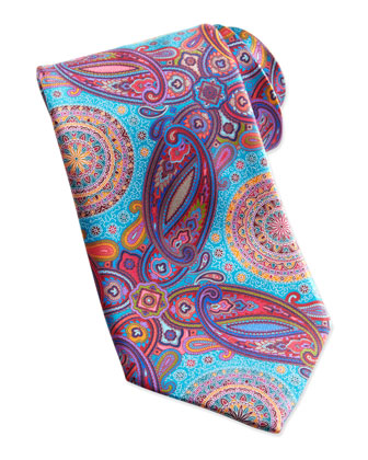 Venticinque Circle Paisley Tie, Turquoise