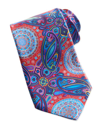 Venticinque Circle Paisley Tie, Red