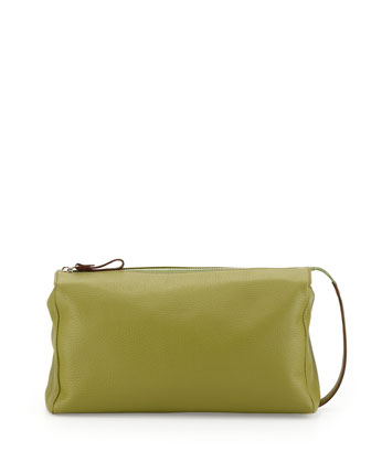 Pebbled Leather Toiletry Bag, Green