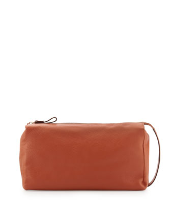 Pebbled Leather Toiletry Bag, Orange