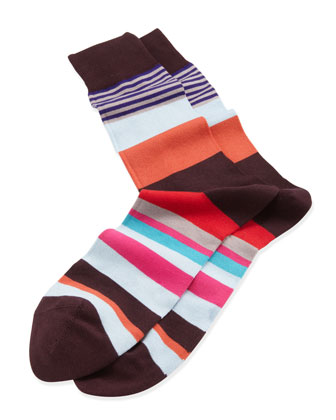 Varied Striped Socks, Orange