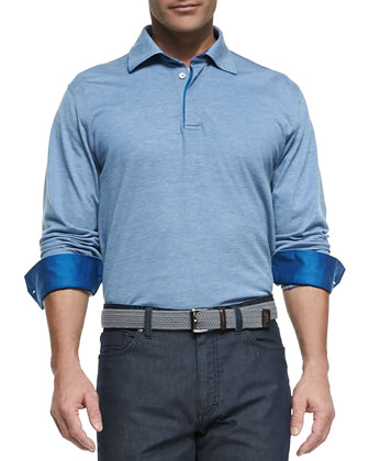 Long-Sleeve Melange-Knit Polo, Blue