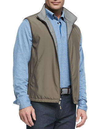 Reversible Zip-Front Vest, Long-Sleeve Melange-Knit Polo & Five-Pocket Silk ...