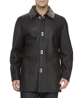 Shearling-Collar Leather Car Coat, Brown