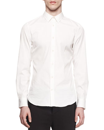 Woven-Stretch Button-Down Shirt, White