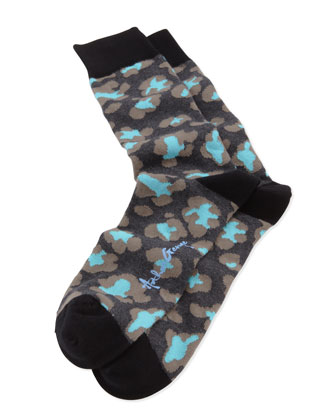 Leopard-Print Men's Socks, Black