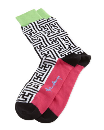 Maze-Print Men's Socks, Black/White