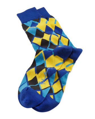 Linked Diamonds Men's Socks, Blue/Yellow