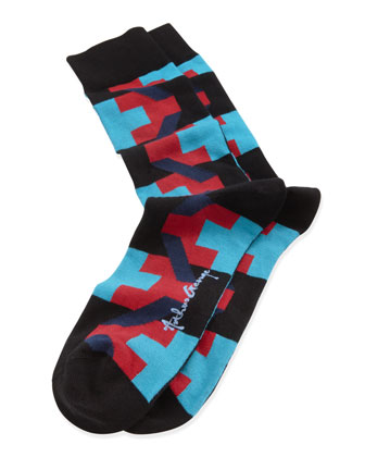 Puzzle-Print Men's Socks, Red/Turquoise