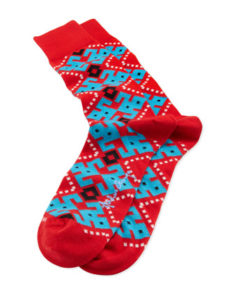 Aztec-Argyle Men's Socks, Red
