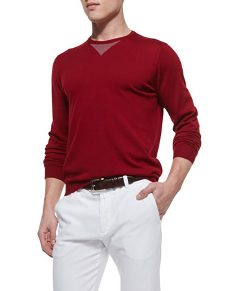 Linen Pullover Sweater, Cherry