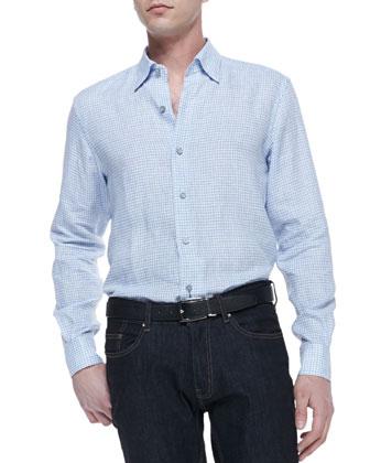Woven Tattersall Shirt, Blue