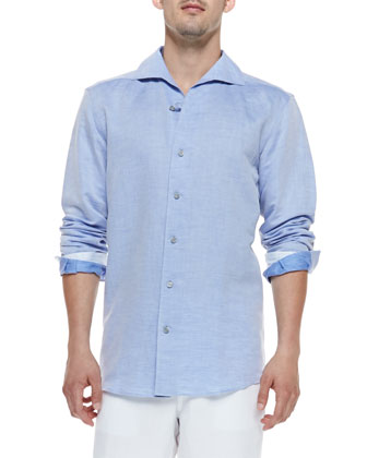 Linen/Cotton Casual Shirt, Light Blue