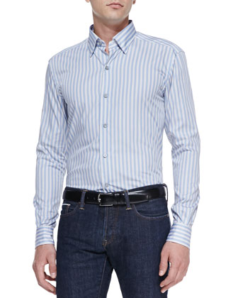 Striped Long-Sleeve Shirt, Gray/Blue/White
