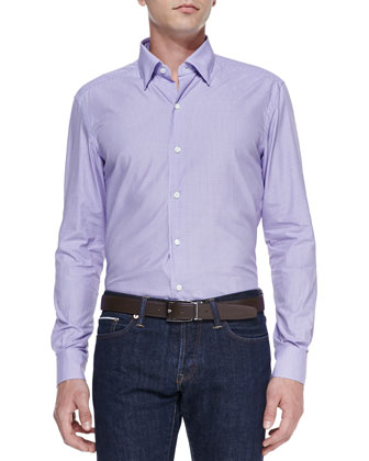 Poplin Micro Gingham Shirt, Purple