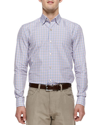 Tattersall-Check Dress Shirt, Purple