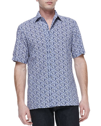 Floral-Print Short-Sleeve Button-Down Shirt, Navy