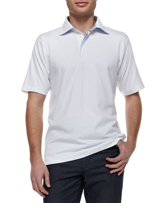 Pique Short-Sleeve Polo, White
