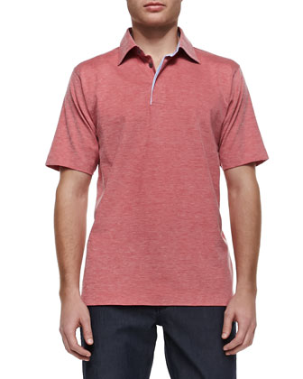Pique Short-Sleeve Polo, Red