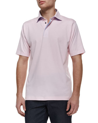 Pique Short-Sleeve Polo, Pink