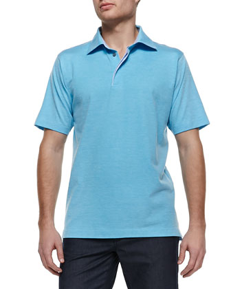 Pique Short-Sleeve Polo, Turquoise