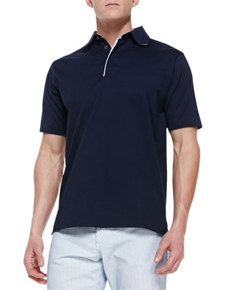 Pique Short-Sleeve Polo Shirt, Navy
