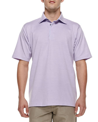 Pique Short-Sleeve Polo, Light Purple