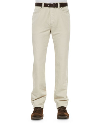Five-Pocket Linen-Cotton Pants, Beige