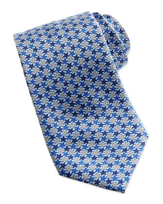 Stars Neat Silk Tie, Light Blue