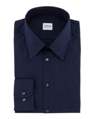 Pinstripe Dress Shirt, Dark Navy/White