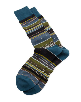 Interior Stripe Socks, Green