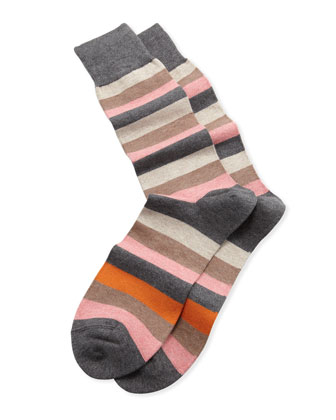 Melange Stripe Socks, Charcoal