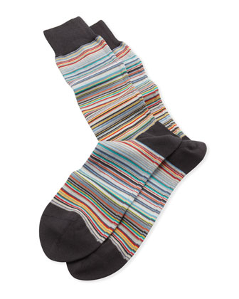 Fine Multi-Stripe Socks, Black