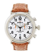 47mm Runwell Chronograph Men's Watch, White/Tan