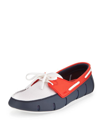 Tricolor Rubber/Mesh Slip-On, Navy/Red/White