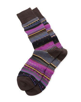 Interior Stripe Socks, Violet