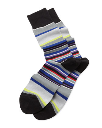 Middle Stripe Socks, Blue