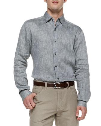 Military Linen Sport Shirt, Green