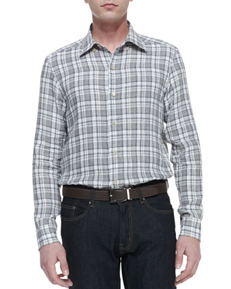 Plaid Linen Button-Down Shirt, Beige