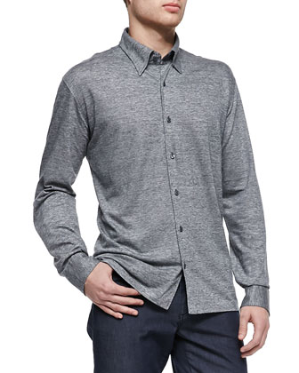 Long-Sleeve Linen-Jersey Shirt & Summer Denim Jeans
