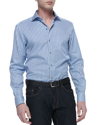 Multi-Stripe Poplin Shirt, Blue