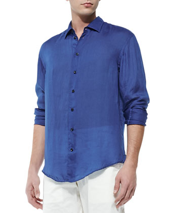 Lightweight Long-Sleeve Sport Shirt, Bright Blue