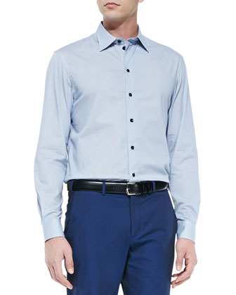 Geometric-Print Dress Shirt, Blue