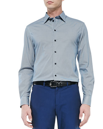 Diamante-Print Dress Shirt, Blue