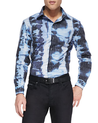 Water-Print Sport Shirt, Blue