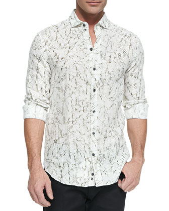 Printed Linen Button-Down Shirt, Olive